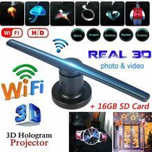 Ac 100-240V Plug-In 3D Hologram Projector Licht Reclame Display Led Fan Holografische Beeldvorming Lamp Afstandsbediening 3d Hologram Fan