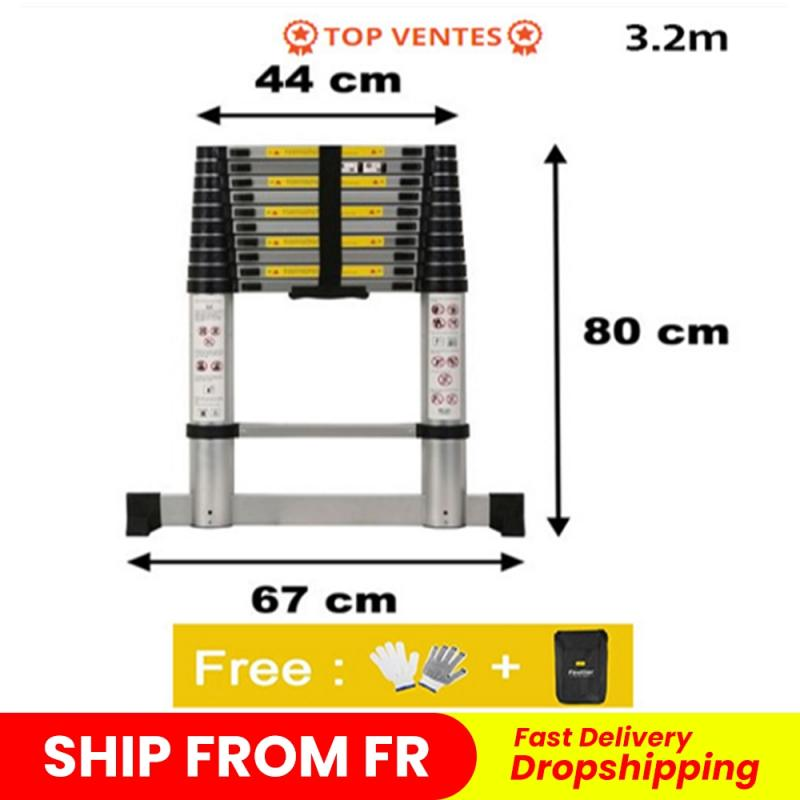 New Portable Safety Extension Ladder Thick Aluminum Alloy Single-sided Straight Ladder Household 3.2 Meters Dropshipping HWC