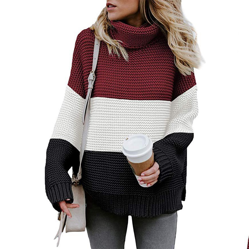 Autumn Winter Women Sweater Stitching Color Turtleneck Warm Long Sleeve Pullover Tops Fashion  Loose  Knitted Sweaters недорого