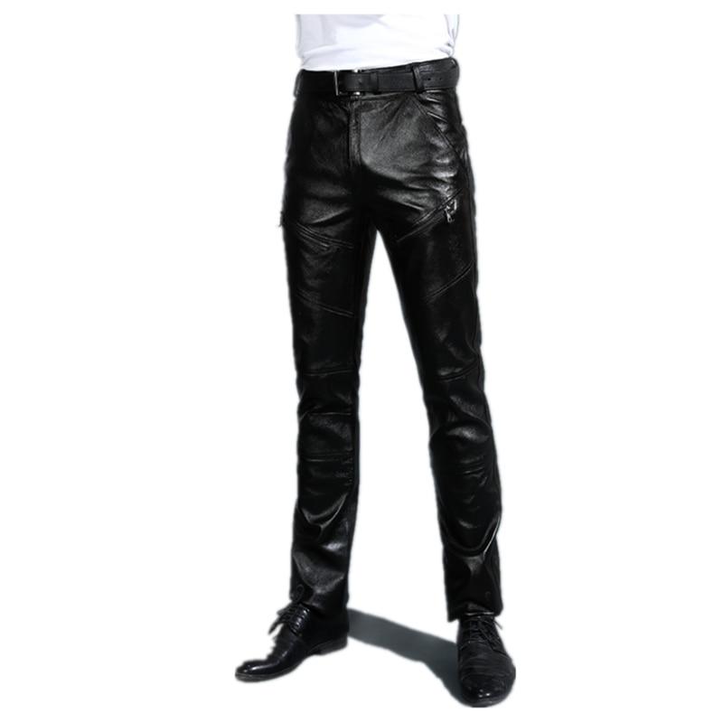 بنطال جلدي رجالي أسود حقيقي مع بنطلون صوف شتاء شبابي سروال سميك الطبقة الأولى سروال جلد بقر سروال جلد الماعز