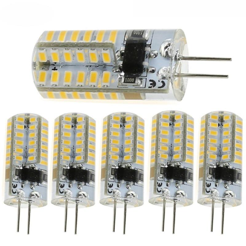G4 5W silicona cristal LED bombillas luz 3014 SMD 48LED iluminación blanco cálido blanco lámpara CA 220V CC lámpara colgante halógena de 12V