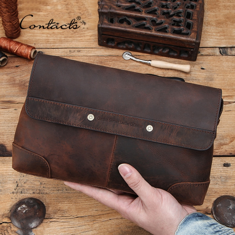 CONTACT'S Men Clutch Bags Large Capacity Men Wallets Crazy Horse Leather Long Purse Male Multifuncti