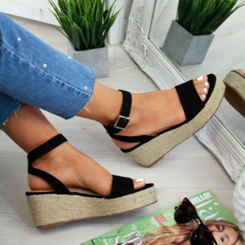 SHUJIN Sommer Schuhe Plattform Sandalen Mode Frauen Strap Mode Sandale Keile Schuhe Casual Frau Peep Toe Espadrille Femme