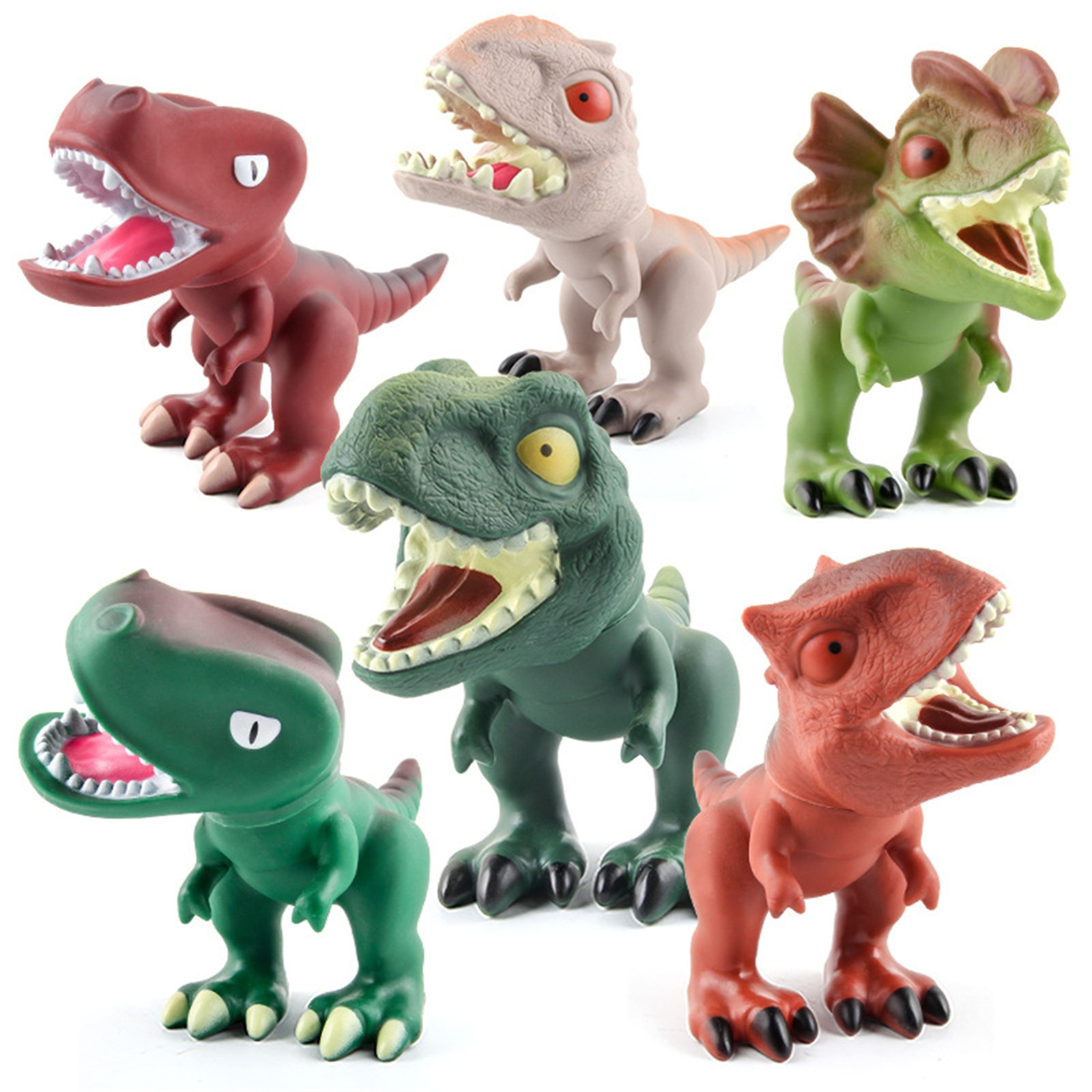 modelo de dinossauro de borracha macia 3d brinquedo realista dinossauro giratorio