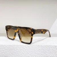 beige square frame green lens womens sunglasses fashion simple glasses anti uv400