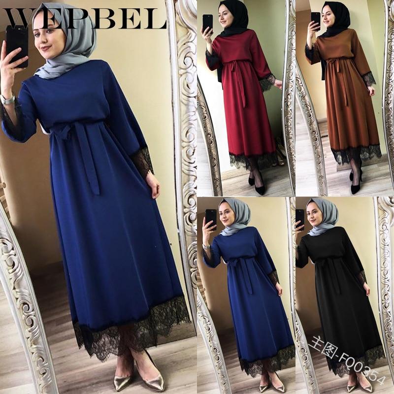 Wepbel muçulmano vestido feminino abaya cor sólida polyster verão rendas floral manga cheia nova moda casual S-5XL longo maxi vestidos
