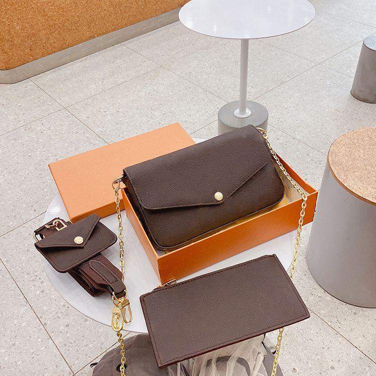 ثلاث قطع 2021 الحقائب حقيبة كتف مائلة عصرية في حقيبة سفر عالية الجودة