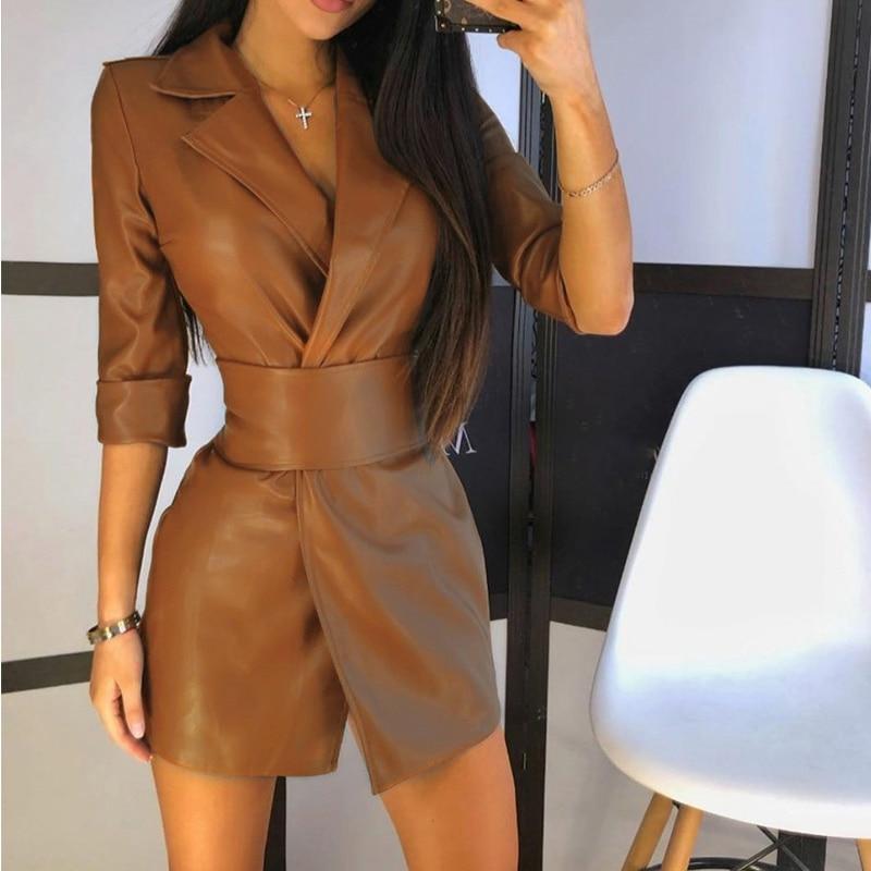 فستان نسائي قصير بحزام من الجلد الصناعي المصنوع من البولي يوريثان مع حزام لربيع وخريف 2021 ملابس خروج نسائية
