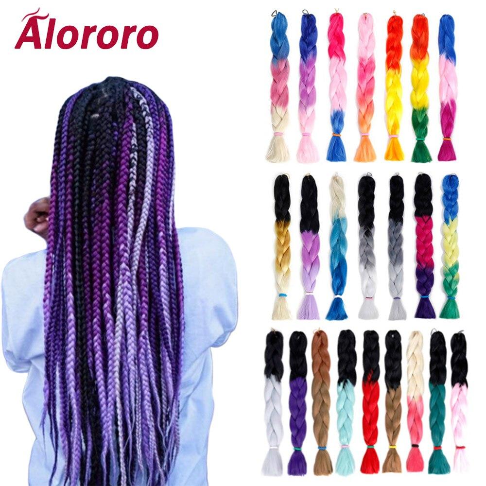 Extensiones de cabello trenzado Alororo morado Ombre para extensiones de cabello trenzado Jumbo de 32 pulgadas/165g, Color mixto, pelo sintético Natural falso, Crochet Hai
