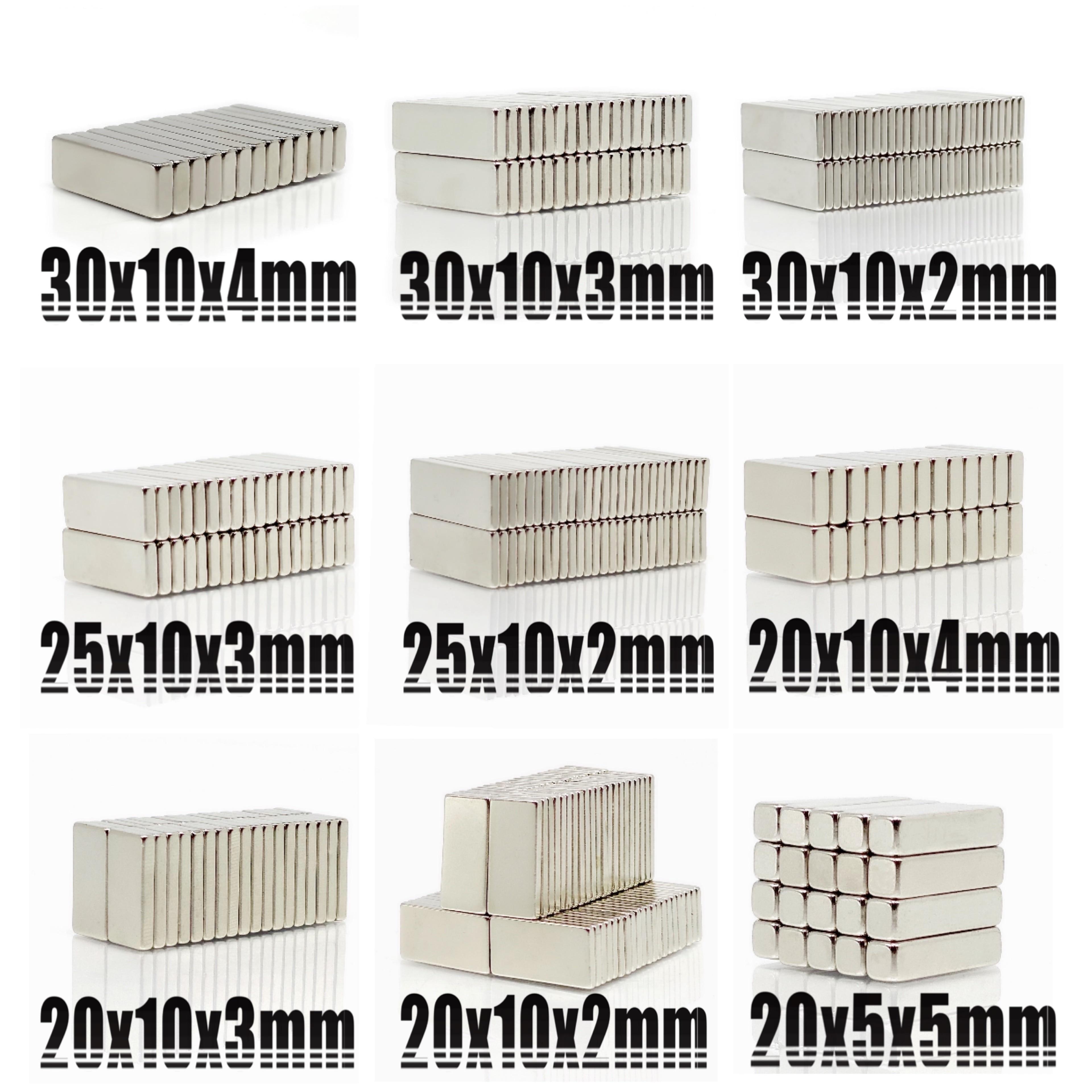 20 piezas N35 imán de neodimio bloque 20X10X2 20X10X3 20X10X4 20X10X5 25X10X3 30X10X2 30x10x4 20X5X2mm bloque Bar imanes raros de la tierra