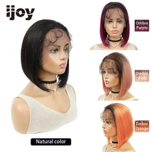 4X13 Lace Front Human Hair Wigs Straight BOB Wig Ombre Pink Purple Orange Wig Brazilian Hair For Black Women Non-Remy Hair IJOY