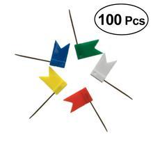 100 pièces 5 couleurs punaise carte drapeau punaises punaises pour école maison bureau reliure fournitures Creative punaise dessin épingle