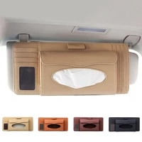 universal car sun visor faux leather tissue box pen cd card holder organizer automobiles stowing tidying