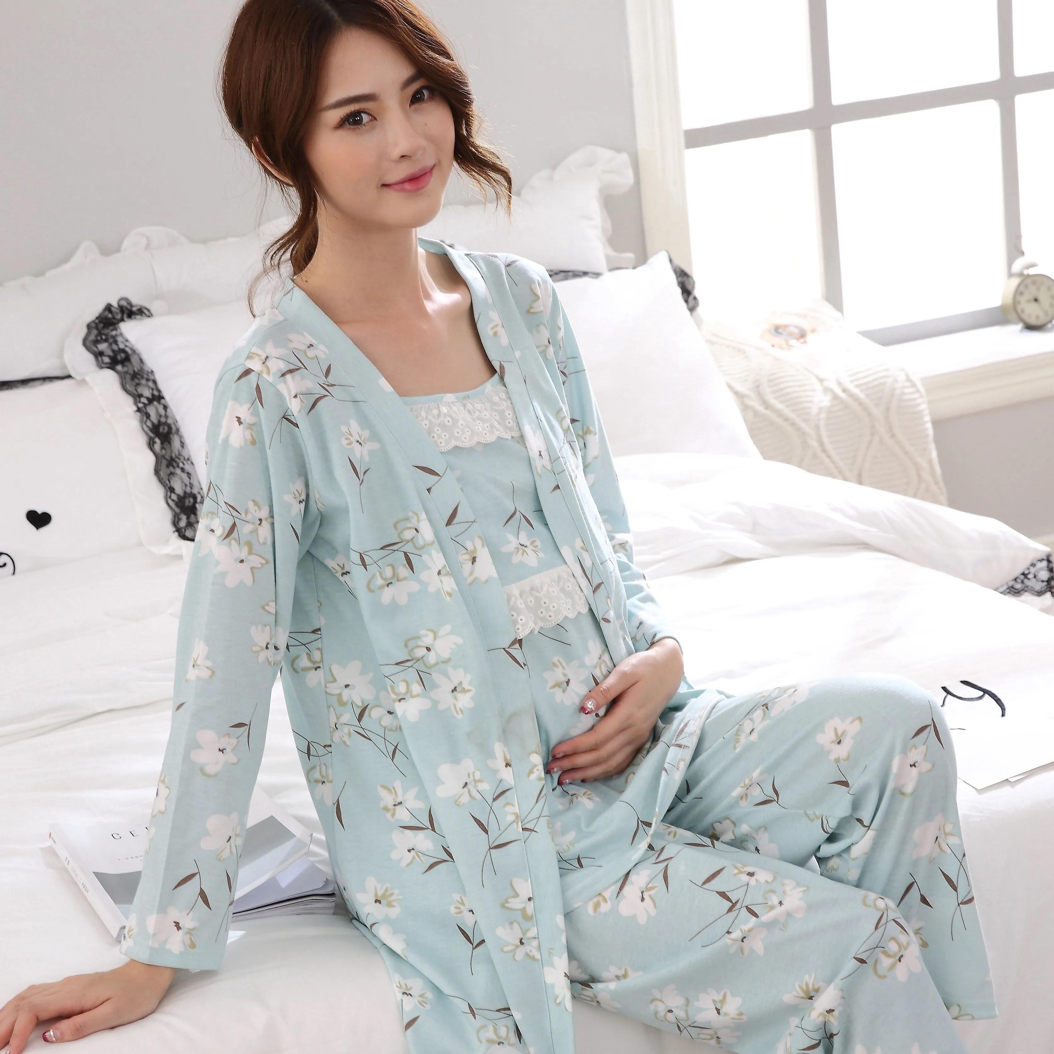3pcs/Set Cotton Postpartum Pregnant Women Breastfeeding Suit Long-sleeved Pajamas Home Clothes Delivery Maternity Nursing Tank enlarge