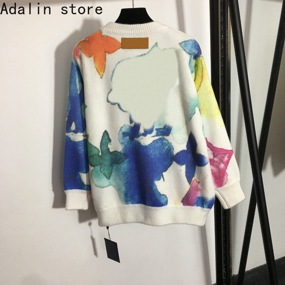 high quality new women's top halo dyed wool round neck sweater embroidered long sleeve splicing Pullover Top knitted sweater enlarge