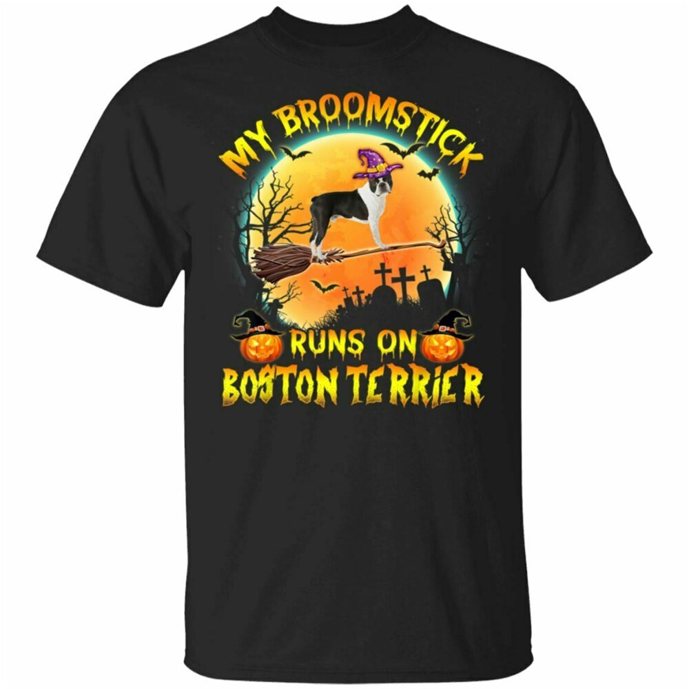 Halloween, mi palo de escoba correr en Boston Terrier traje de perro negro de camiseta azul marino M-tamaño grande Top camiseta