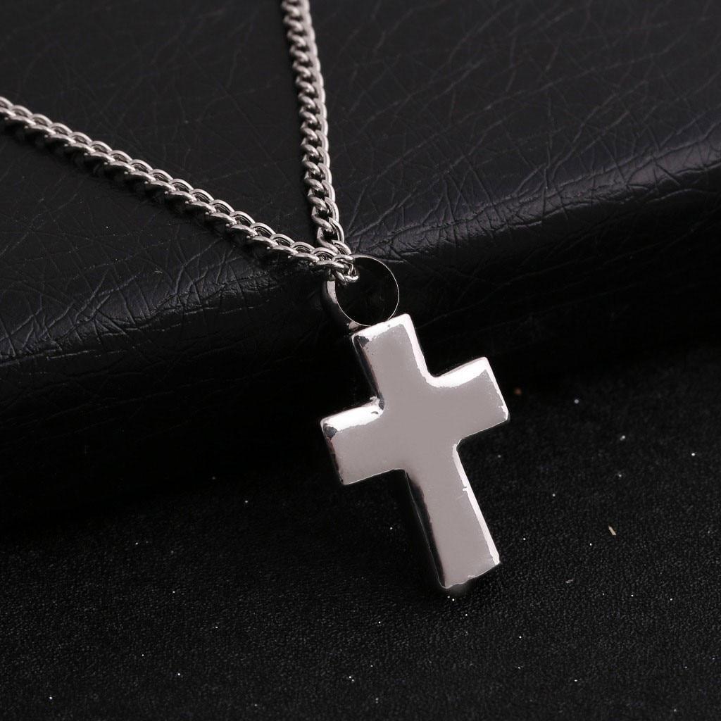 Unsex Necklace Creative Cross Mini Cinerary Casket Alloy Chain Necklace Commemor Fashion Round Dangl