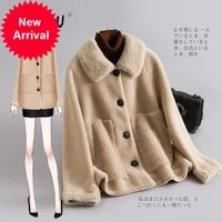 off season special price fashion particle cashmere coat womens short new wool one piece fur coat