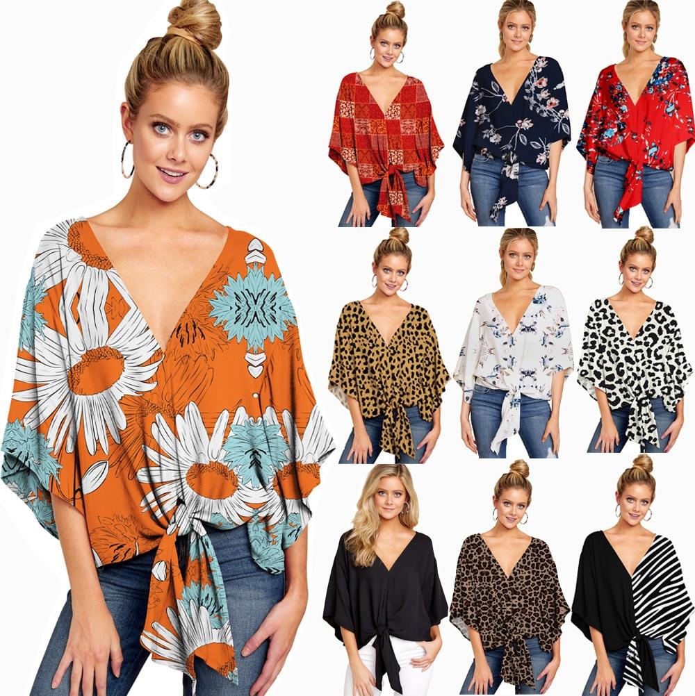 Primavera Verano 2020 mujeres Pullover Shirt Deep v-cuello Sexy Oficina camisas moda femenina suelta Bow Top blusas de talla grande S-5XL