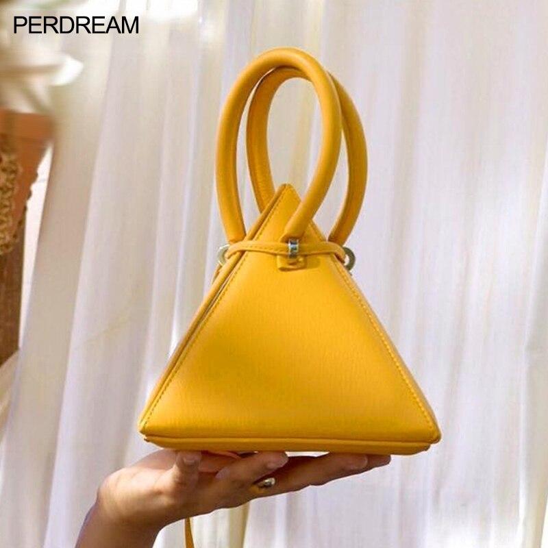 Saco 2020 nova onda triângulo saco cordão limão amarelo mensageiro bolsa feminina pirâmide jantar saco