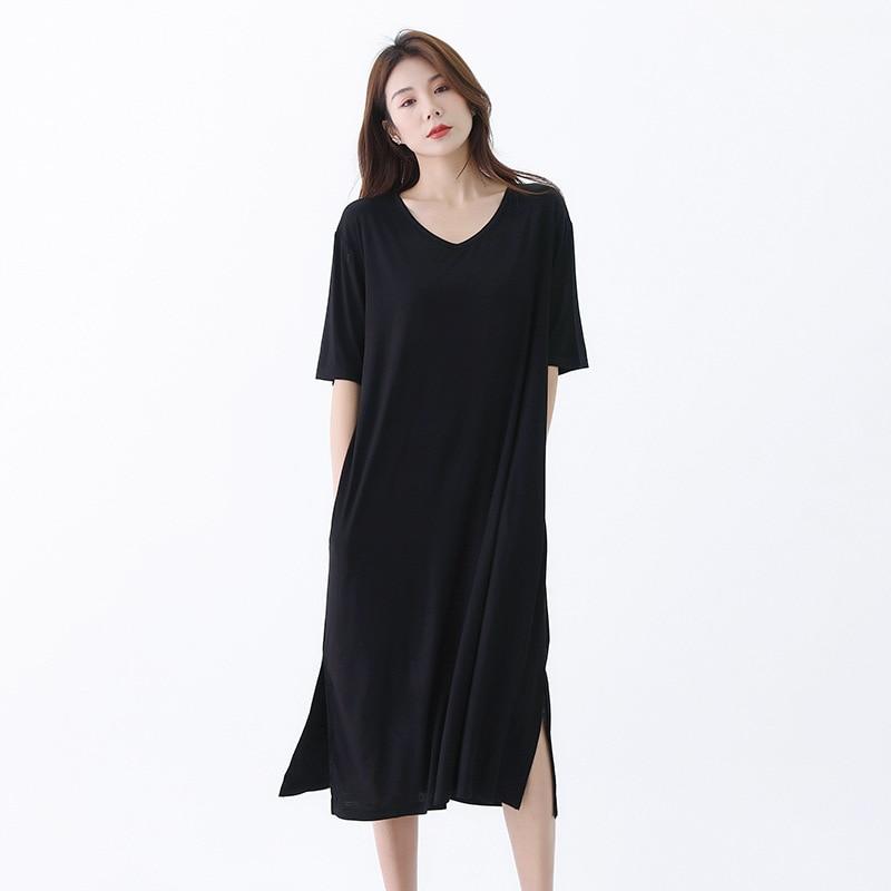 Camisones de talla grande con cuello en V para mujer de ropa...