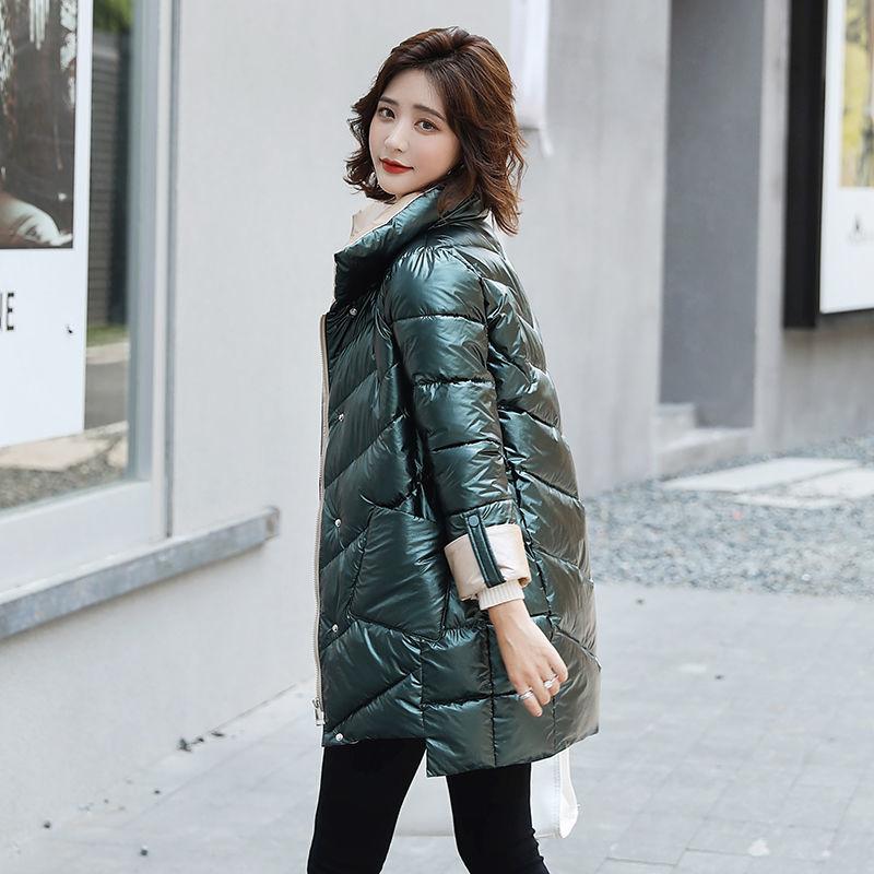 2021 nuevas chaquetas de invierno Parkas Mujer brillante Chaqueta de algodón Parka...
