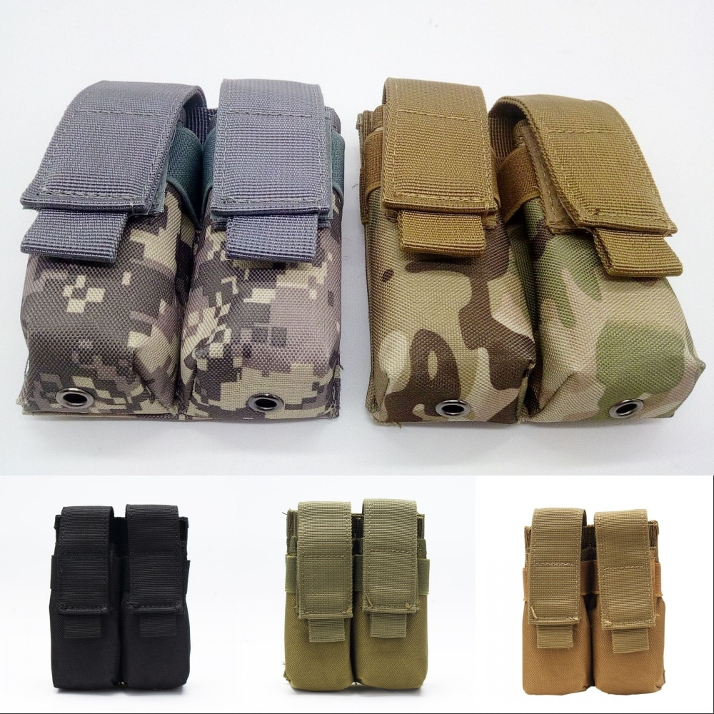 AliExpress - 9mm Molle Tactical Double Pistol Magazine Pouch Flashlight Holder Hunting Accessories Airsoft Rifle Ammo Mag Holster Waist Bag