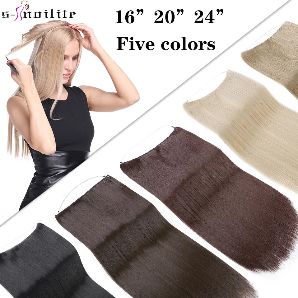 SNOILITE Women Long Straight Wire Secret Fish line Hair Extension Synthetic Black Brown Invisible Glueless One Piece Hairpiece