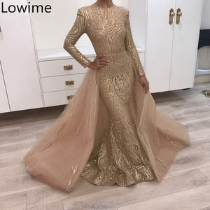 Middle East Glitter Formal Prom Dresses Two Pieces Muslim Champagne Long Evening Dress Mermaid Abendkleider Arabic Gowns Party