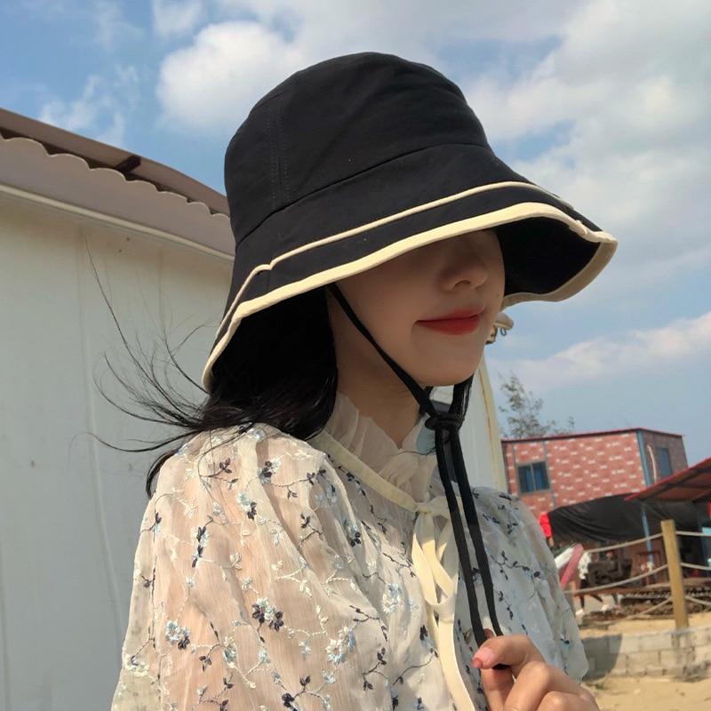 Панама Женская Полосатая в Корейском стиле, Солнцезащитная Панама в японском стиле ретро, модная однотонная Складная
