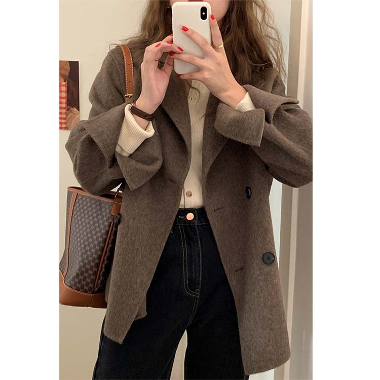 قصيرة الوجهين الصوف معطف المرأة الجديدة فضفاضة طويلة الأكمام زر صف مزدوج الصوف معطف في الخريف والشتاء 2021
