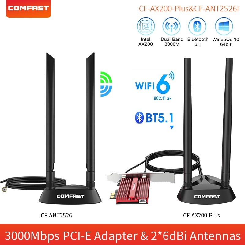 3000Mbps WiFi 6 Adapter wireless AX200NGW PCI-E Bluetooth 5.1 Dual Band Network Wifi PCIe Card Adapter 2.4G/5G 802.11ax For PC