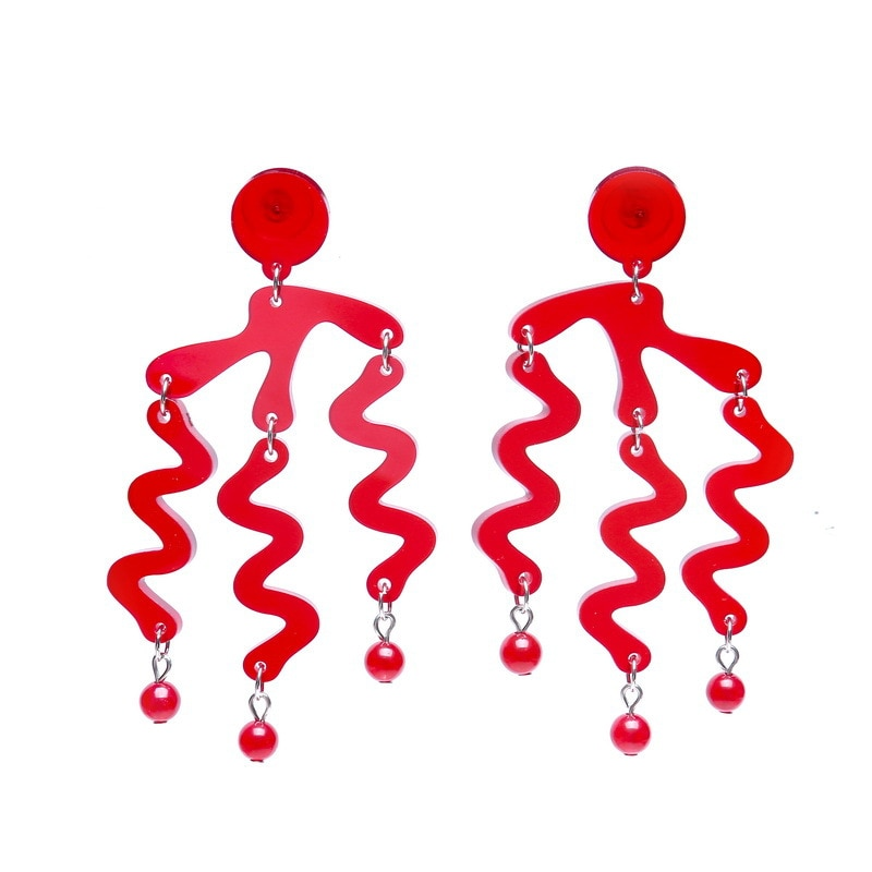 Irregular Geometric Wave Earrings Women Long Transparent Acrylic Tassel Drop Earrings