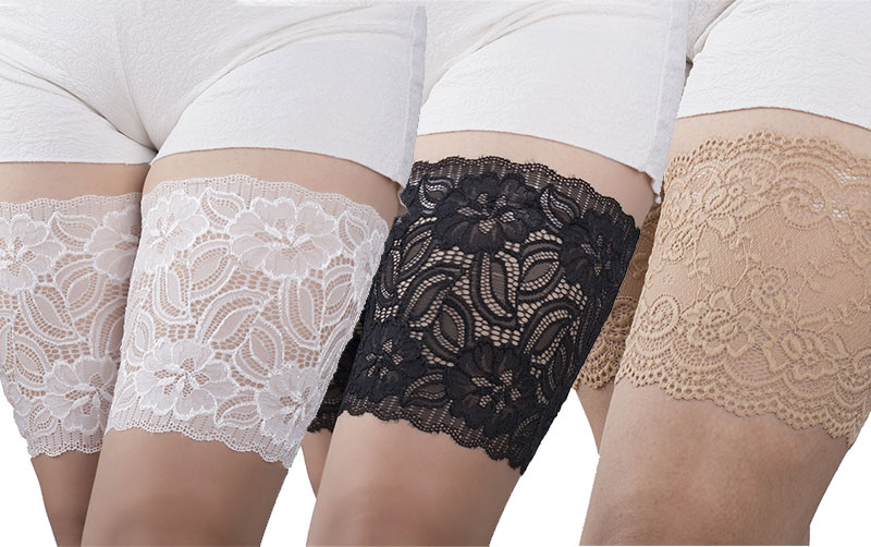 2Pcs Silicone Anti Slip Thigh Leg Bands Summer Sexy Lace Anti Friction Thigh Bands Anti Chafing Thig