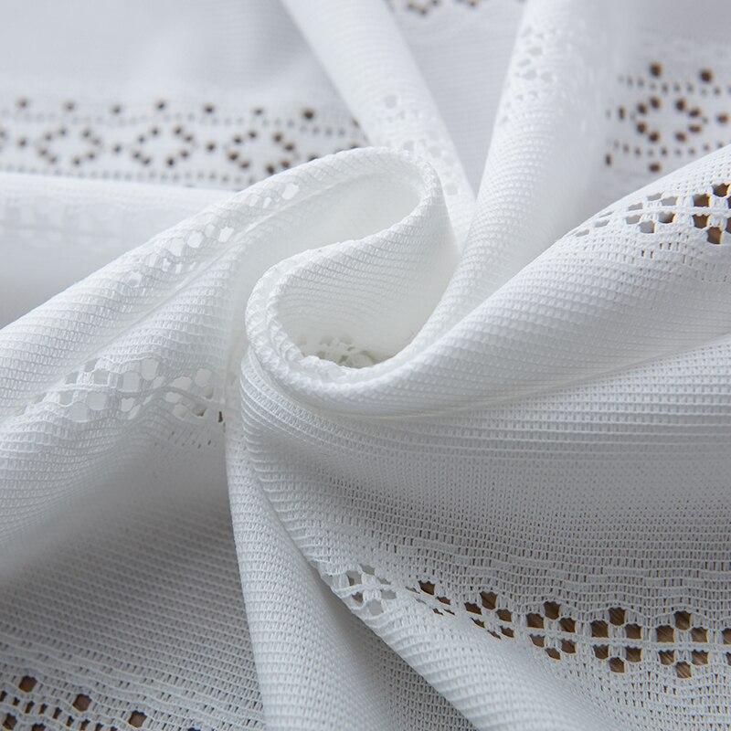 ستائر يابانية شفافة لغرفة المعيشة وغرفة النوم ، حجاب أبيض ، تول زهري مخرم ، معالجة نافذة شاش أنيقة