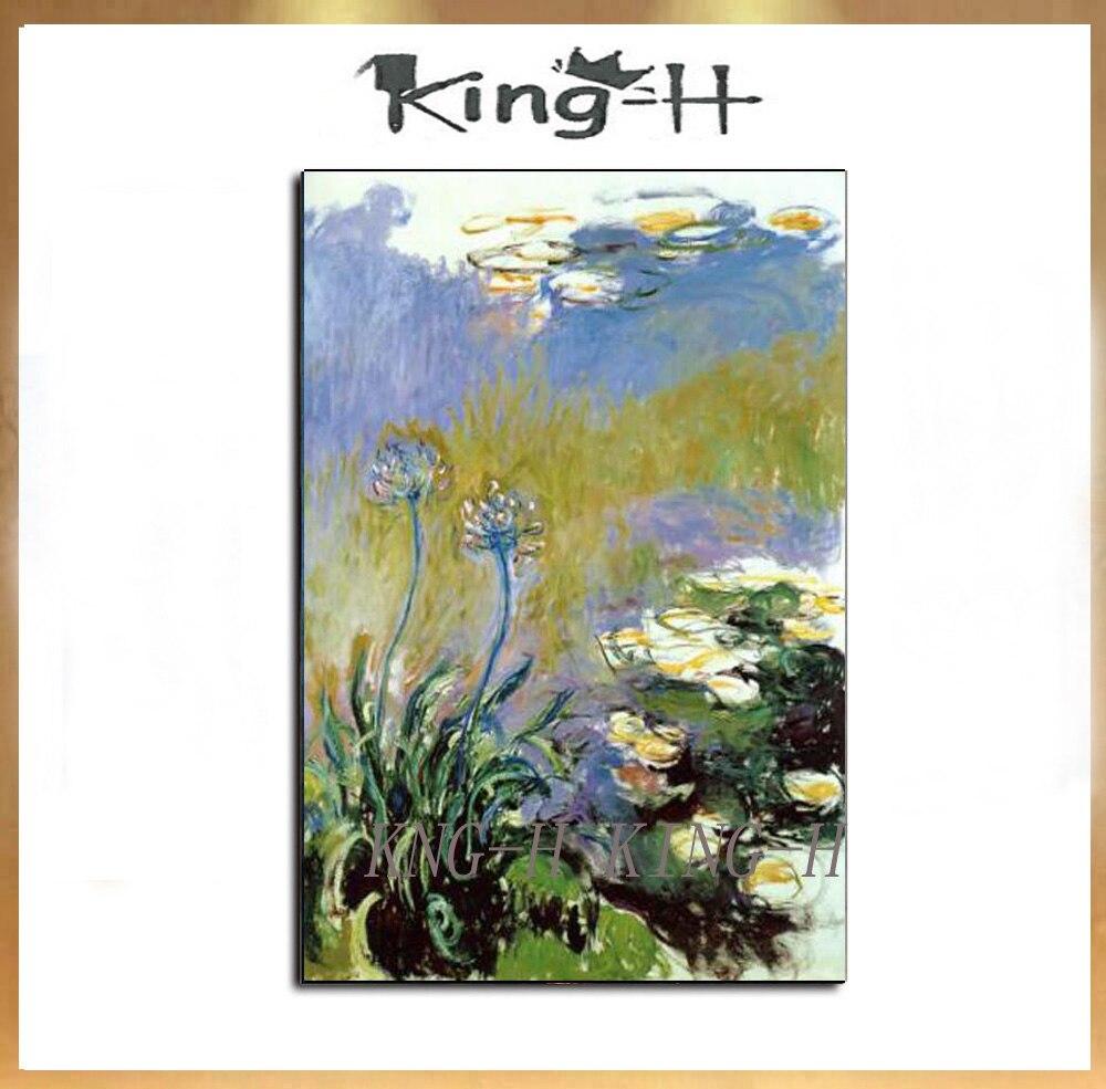 100% pintura al óleo hecha a mano de Claude Monet reproducción sobre lienzo de lino, agapanthus 1917, envío rápido gratuito, calidad de museo