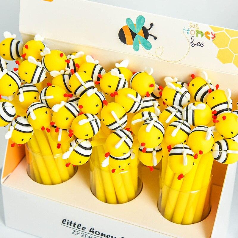 1X Милая гелевая ручка с маленькой Пчелкой, ручка для письма и подписи, школьные и офисные принадлежности, подарок для детей, канцелярские пр...