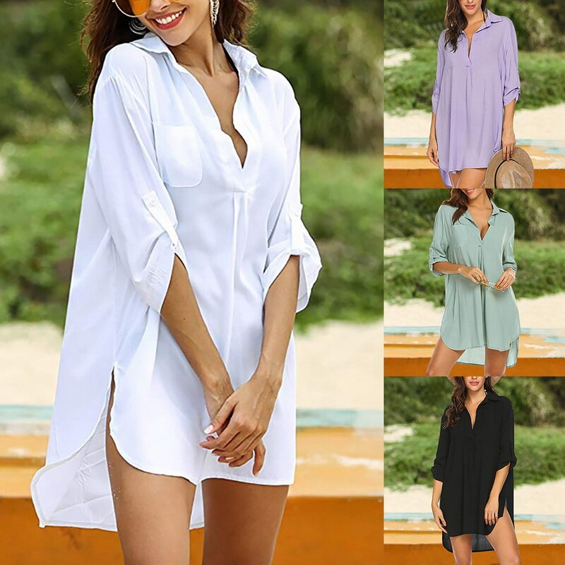 2021 Women's Beach Cover Up Long Sleeve Button Down Sleep Shirt Dress Swimsuit Solid Color Cover Up Tunics Solid color Beachwear
