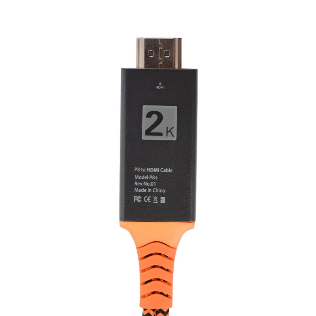 Portable Size Nylon Wire Braided USB Female to HDMI-compatible-compatible Male HDTV Adapter Cable Support Type-C Lightning Cable enlarge