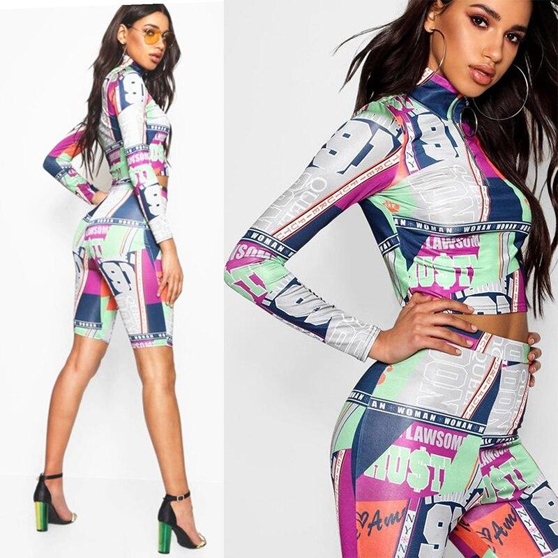 XXL carreras deporte estampado Streetwear conjuntos de verano para mujer ropa de talla grande dos piezas Top Pants 2020 nuevo diseño Casual trajes de Club