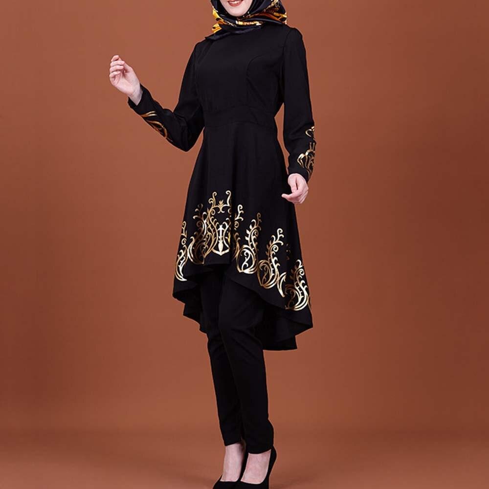 Mujeres moda Kaftan larga Camiseta Abaya Jilbab musulmán negro de talla grande camisetas sueltas para mujer ropa islámica S-2XL camisetas