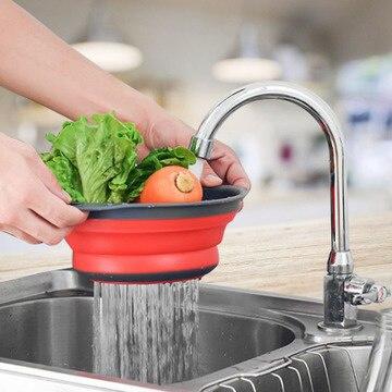 SHZQ Escurridor plegable de silicona 5 colores y creativo de colador de frutas y verduras y utensilios de almacenamiento de