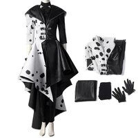movie cruella cosplay de vil costume halloween carnival clothing villain character black white fashion outfit for adult women