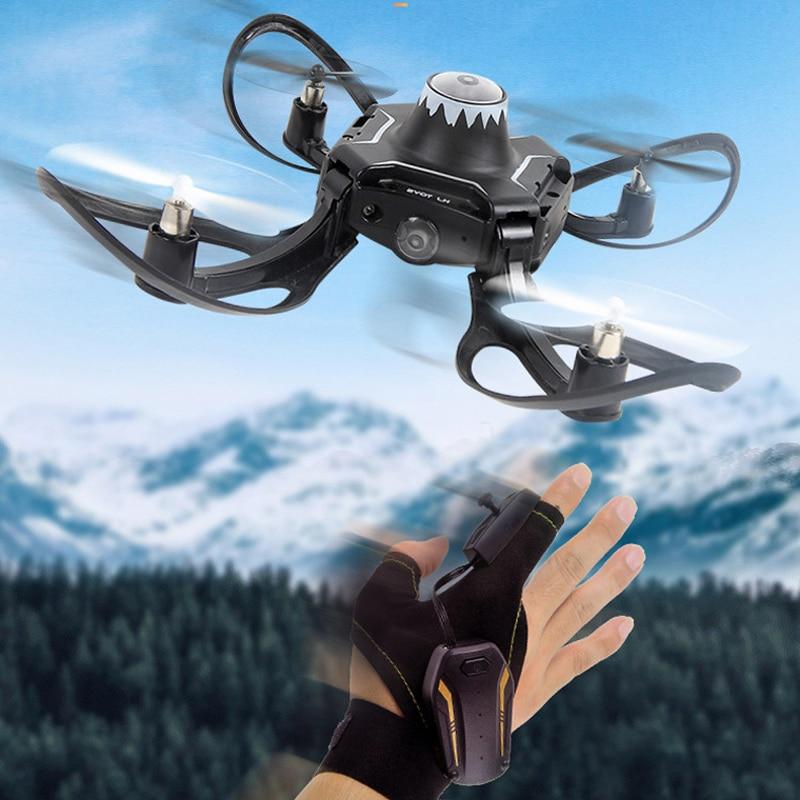 Mini guantes plegables Control de gestos Aplicación de teléfono Drone interactivo RC helicóptero avión juguete Quadcopter Wifi FPV con cámara 480P