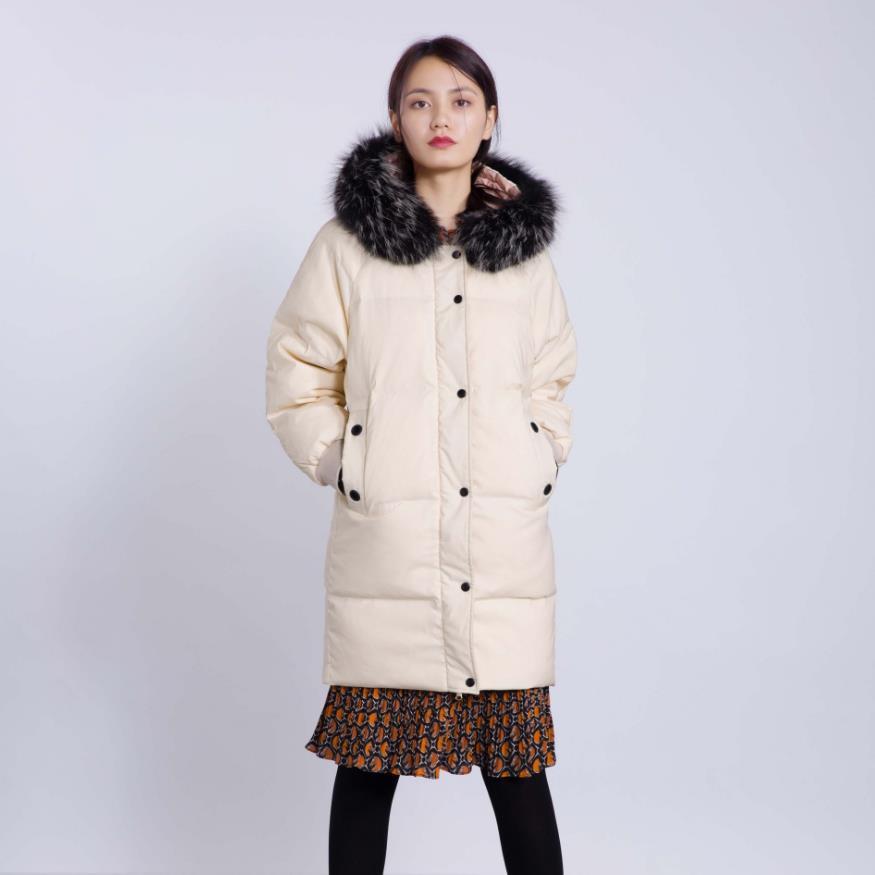 90% الأبيض بطة أسفل معطف الشتاء كبير الطبيعي معطف الفرو الحقيقي thicker الدافئة نوعية كبيرة الفاخرة أطول مقنعين معطف دافئ F220