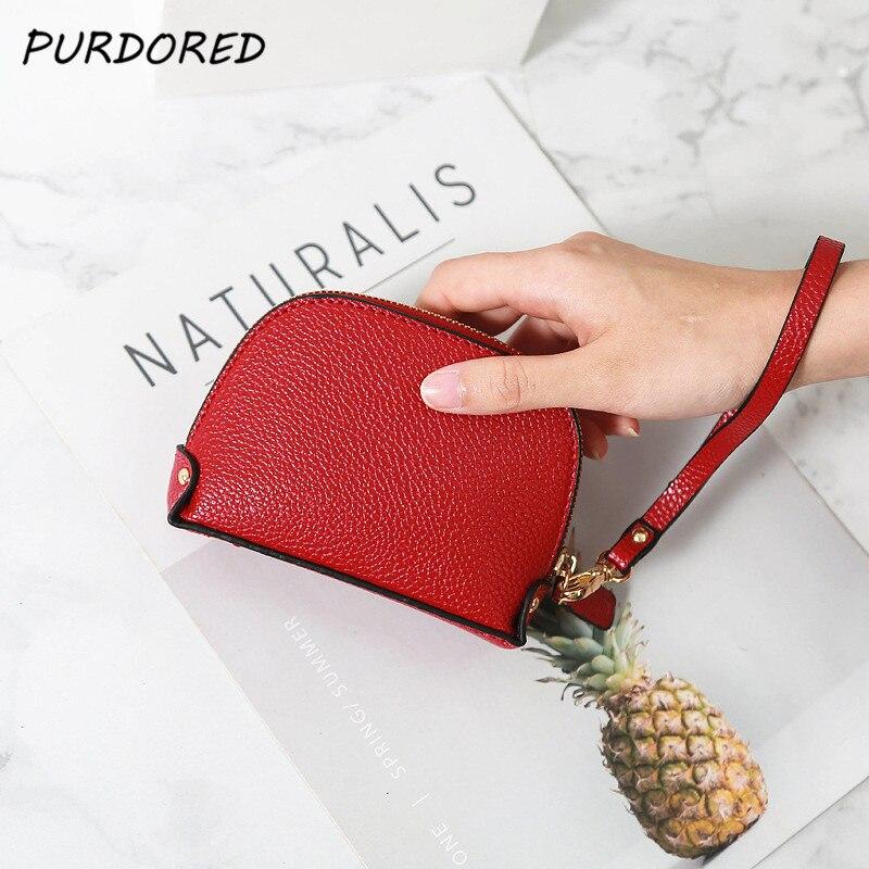 PURDORED  1 Pc Women Shell Coin Purse PU Leather Solid Color Zipper Money Bag Earphone Line Coin Holder Purse Clutch Handbag Bag