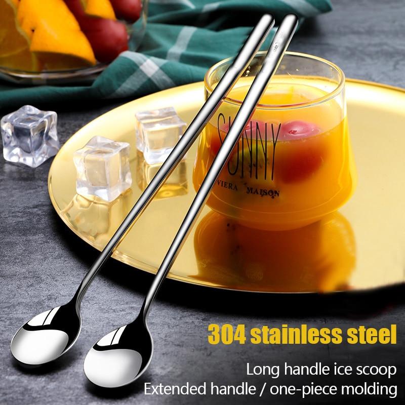 aliexpress.com - 304 Stainless steel dinnerware set spoon tea spoon Dessert coffee ice cream spoons Kitchen accessories Bar tools new long handle