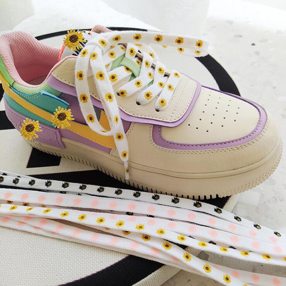 1Pair Little Daisies Shoelaces Cartoon Printing Fashion Women Men Shoes laces High-top Canvas Sneake
