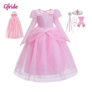 Girls Costume With Long Cape (90-100 cm) For Kids Princess snow queen Dress Up Halloween Fancy Party Dress pink
