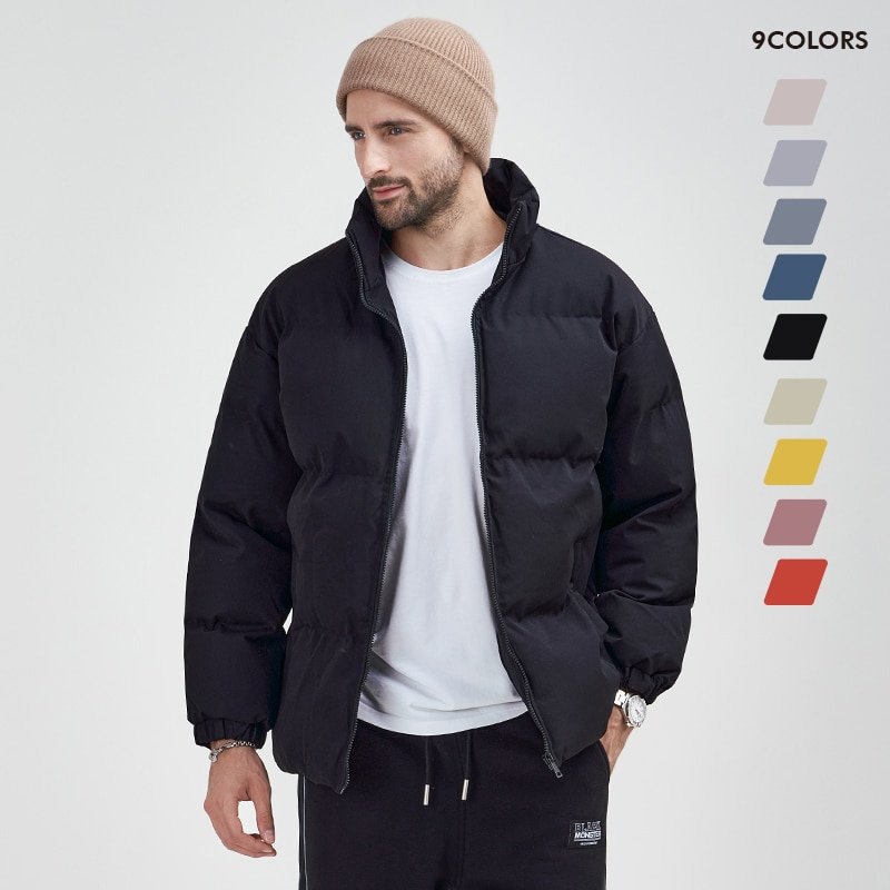 Men Padded Parka Russia Man Winter Casual All-match Solid Color Stand Collar Coat Thick Winter Jacke